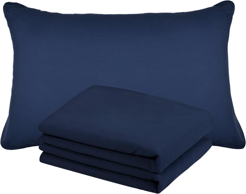 Duractron - 2 Fundas de microfibra hipoalergénica para almohada, tamaño Queen (50 x75 cm), azul marinero, 2 unidades