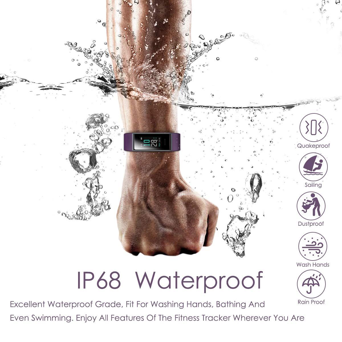 CHEREEKI Fitness Tracker, Orologio Fitness Bluetooth Impermeabile IP68 Uomo Donna con Cardiofrequenzimetro, Contapassi con Calorie, e Cronometro per iPhone Android (Viola)