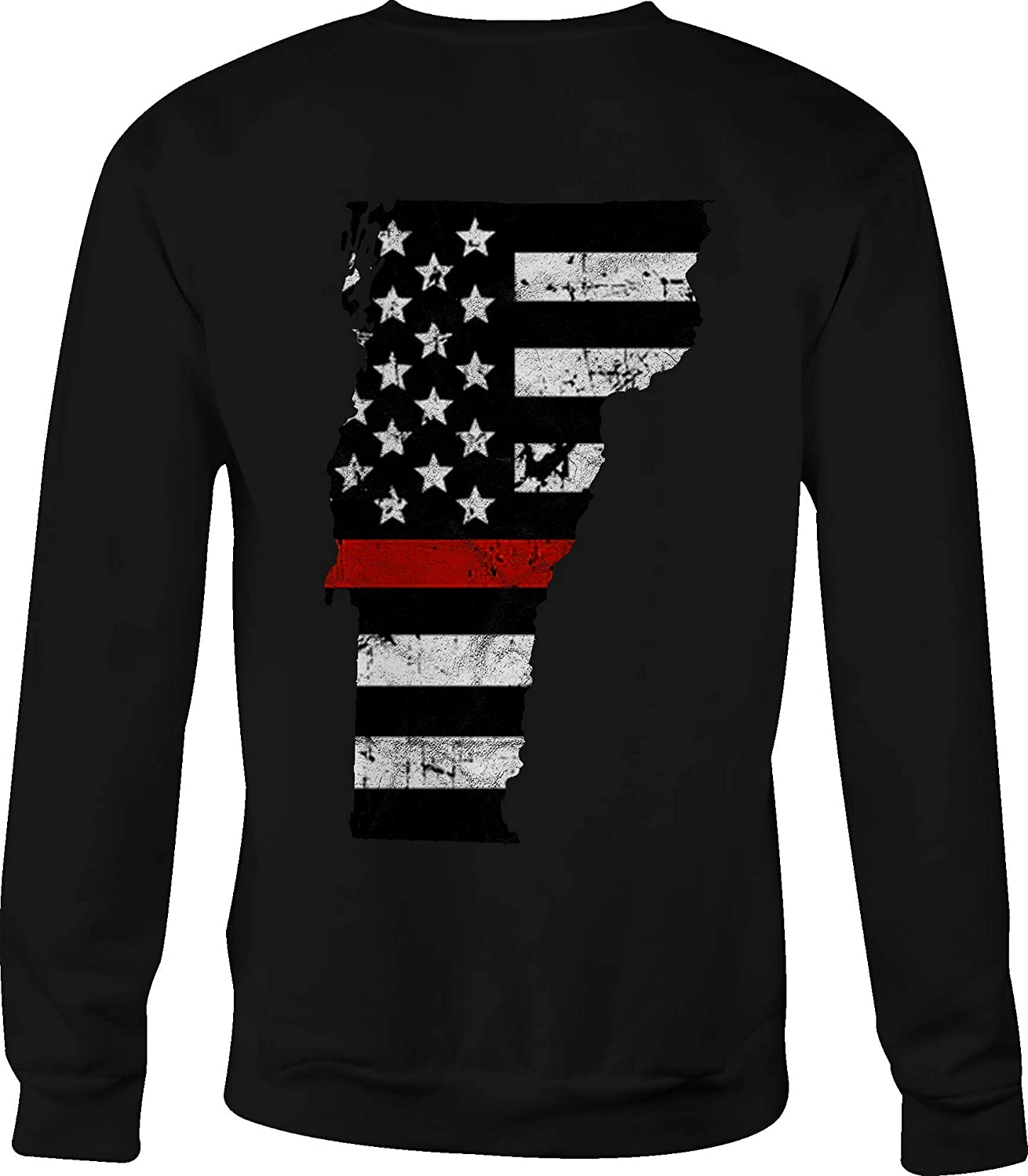 Hoody Crewneck Sweatshirt Vermont Thin Blue Line Distressed American Flag