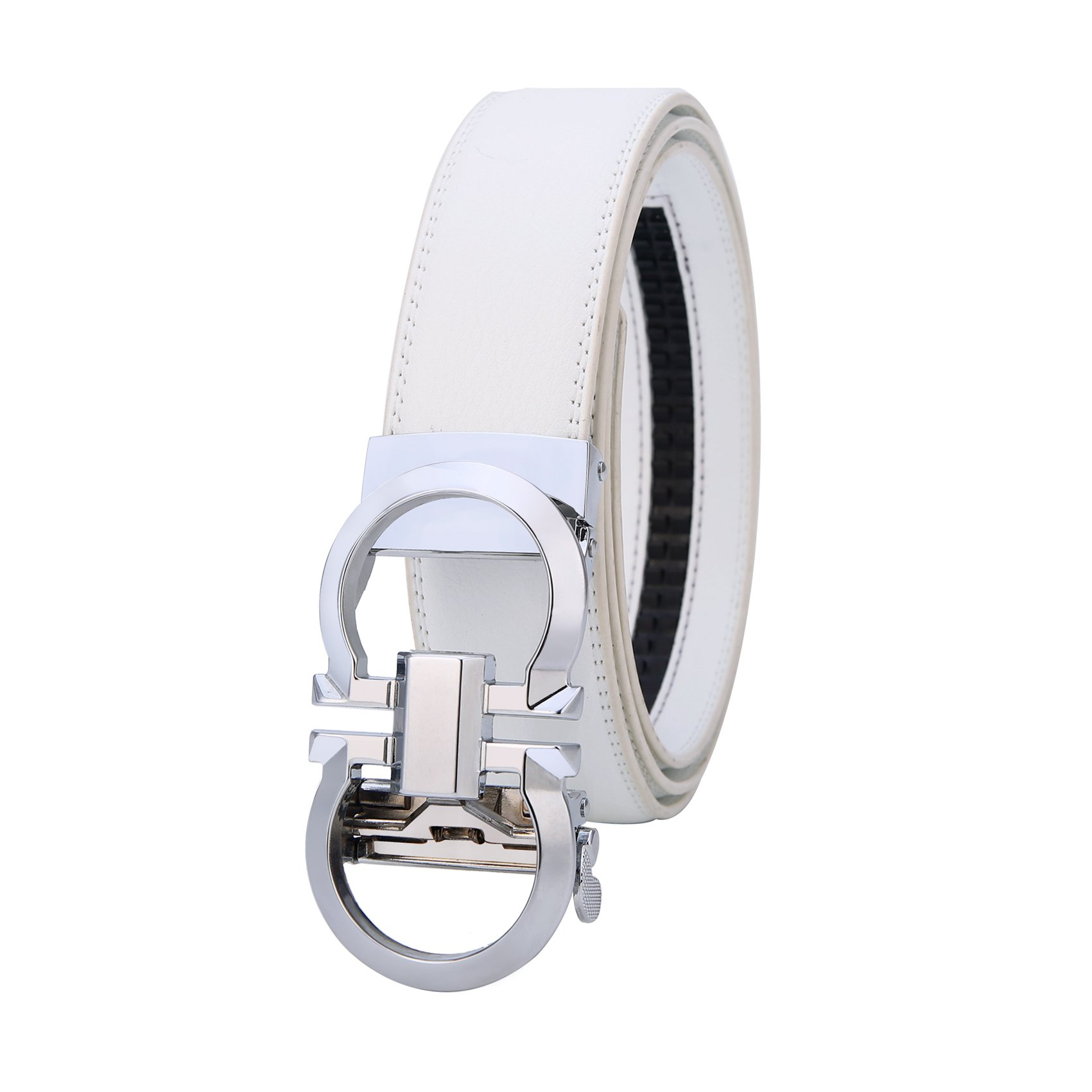Mens Genuine Leather Ratchet Dress Belt Click on Width 1.38'' (white-silver, 27''-48'')