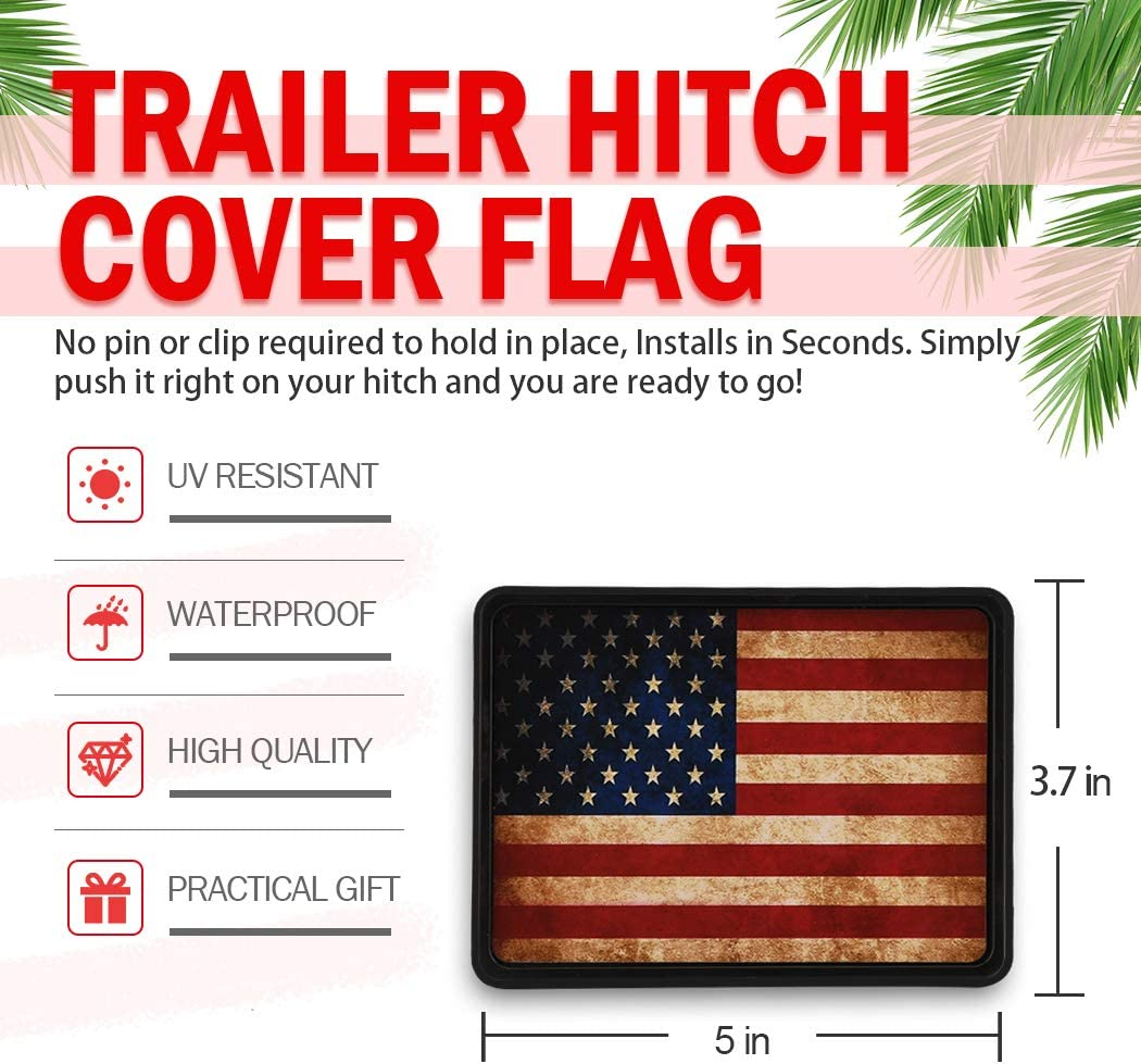 Black Cootack USA Stainless Steel Flag Emblem Trailer Metal Hitch Cover American Patriotic Plug for Trucks Black Fits 2 Receivers