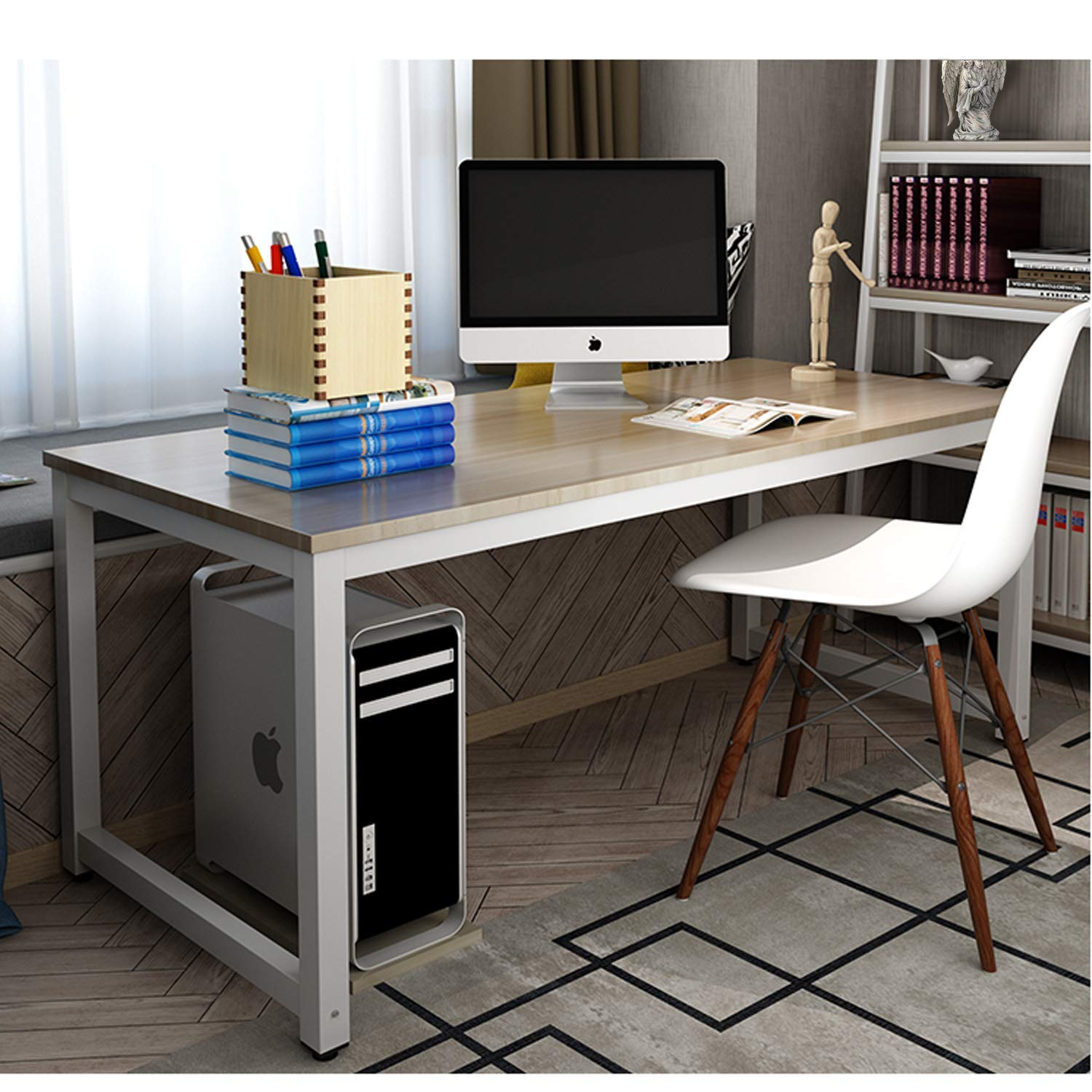 Amazon com long world 47 computer table study writing desk office desk rectangular table pc desk gaming desk for workstation home office wood metal