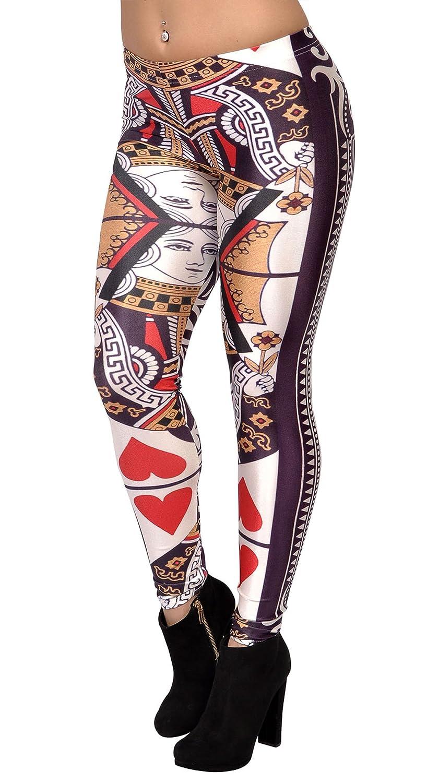 Amazon.com: BadAssLeggings Womens Queen Of Hearts Leggings Medium White: Clothing