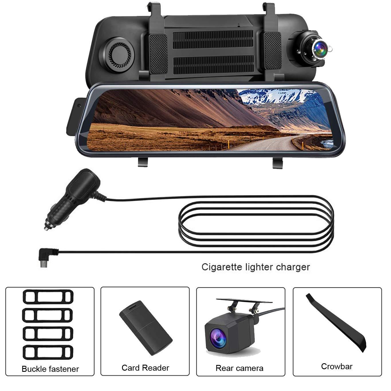 Aonerex Touchscreen Autokamera mit R/ückfahrkamera Spiegel Dual Lens 9,66 Full HD 1080P R/ückspiegel Loop-Aufnahme Frontkamera Rear Kamera f/ür Nachtsicht Rueckfahrkamera Dashcam