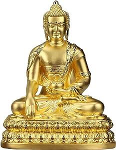 XQK Buddha Statue Sitting Figurine Sculpture Decoration Crafts for Home Ornament Garden Buddhist Bronze Gautama Statue
