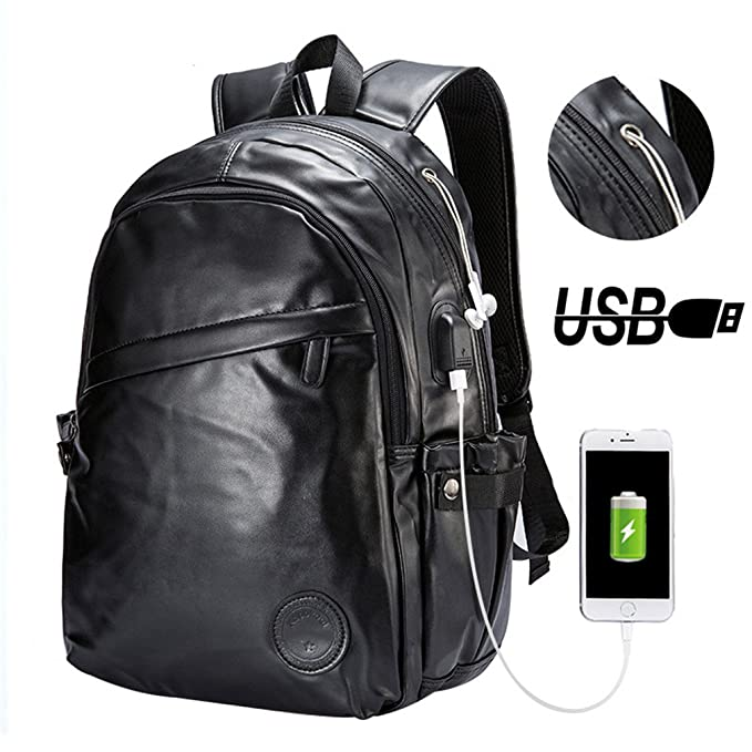 Amazon.com: UKXMNC Men Backpacks Leather Laptop Bagpack Mens External Usb Port Backpack School Bag Sac Black 14 Inches: Sports & Outdoors