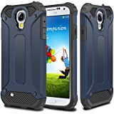 Galaxy S4 Case,Wollony Rugged Hybrid Dual Layer Hard Shell Armor Protective Back Case Shockproof Cover for Galaxy S4 Case - Slim Fit - Heavy Duty - Impact Resistant Bumper(Deep Blue)
