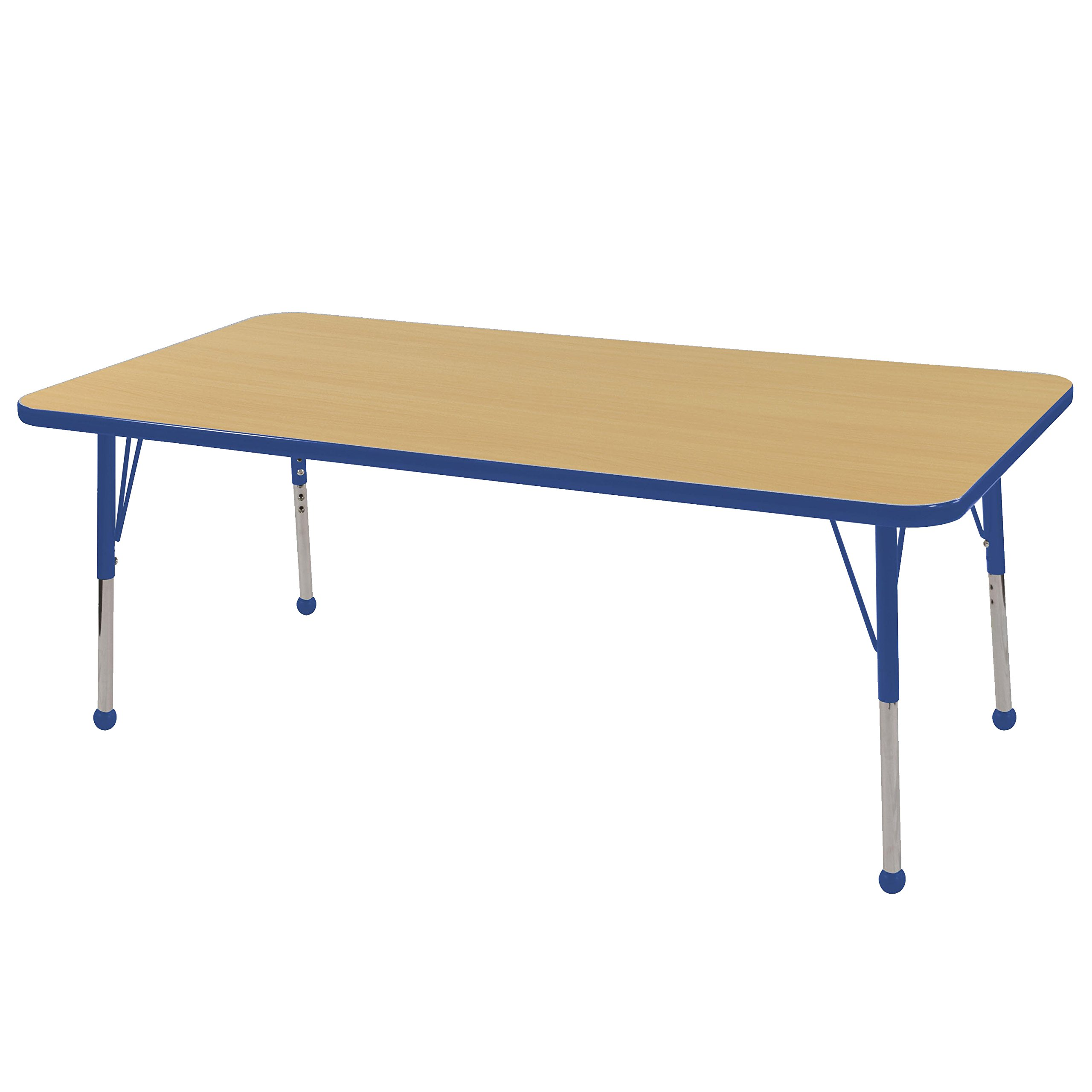 ECR4Kids T-Mold 24'' x 60'' Rectangular Activity School Table, Standard Legs w/ Ball Glides, Adjustable Height 19-30 inch (Maple/Blue) by ECR4Kids