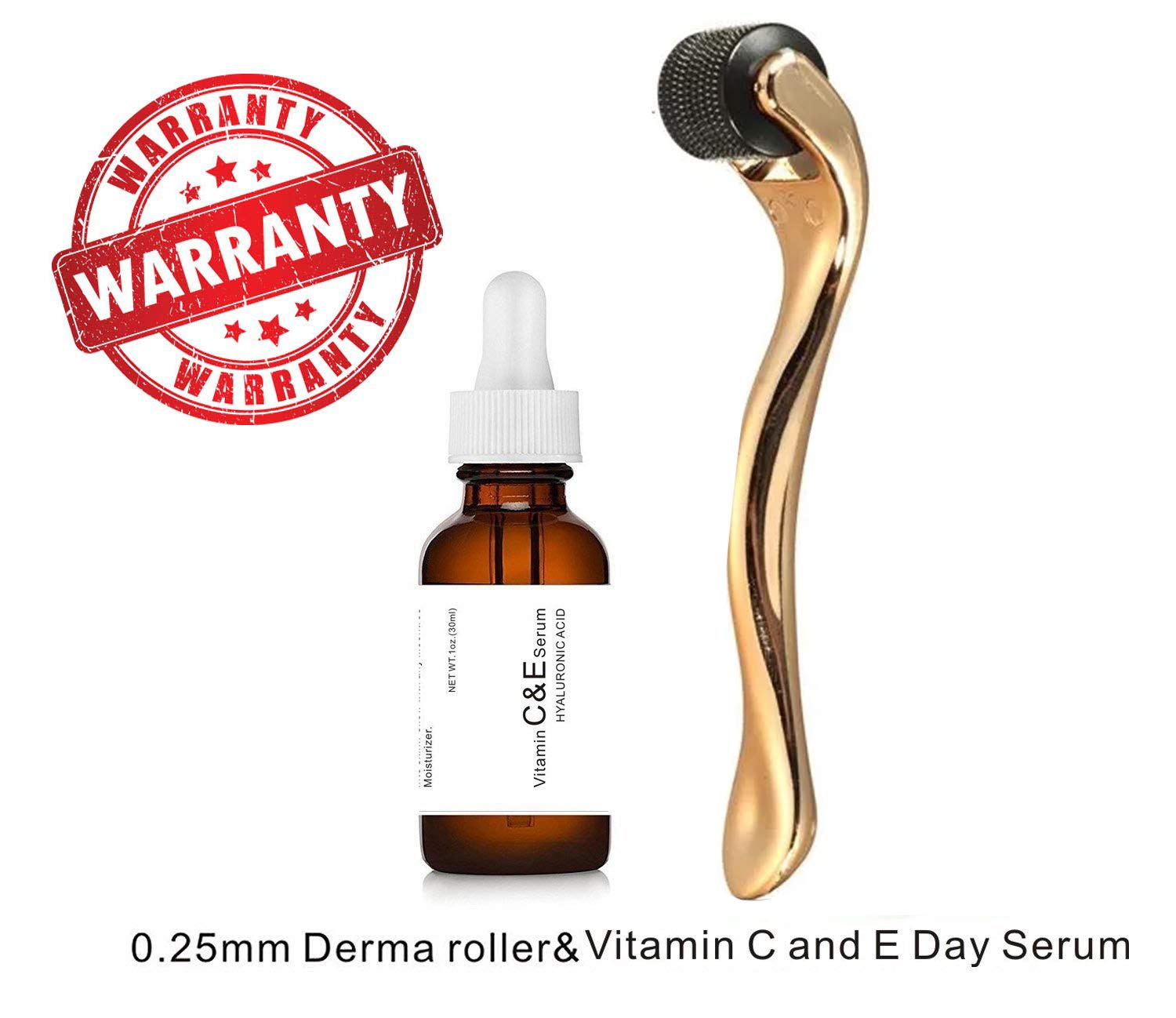 Sweet Dream Vitamin C and E Day Serum with Hyaluronic Acid,Anti aging skin care product/anti wrinkle serum will fill fine lines,even skin tone and fade age spots-plus 0.25mm derma roller by sweet dream