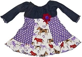 product image for Cheeky Banana Little Girls Denim Horses Peasant Dress in Purple Multi