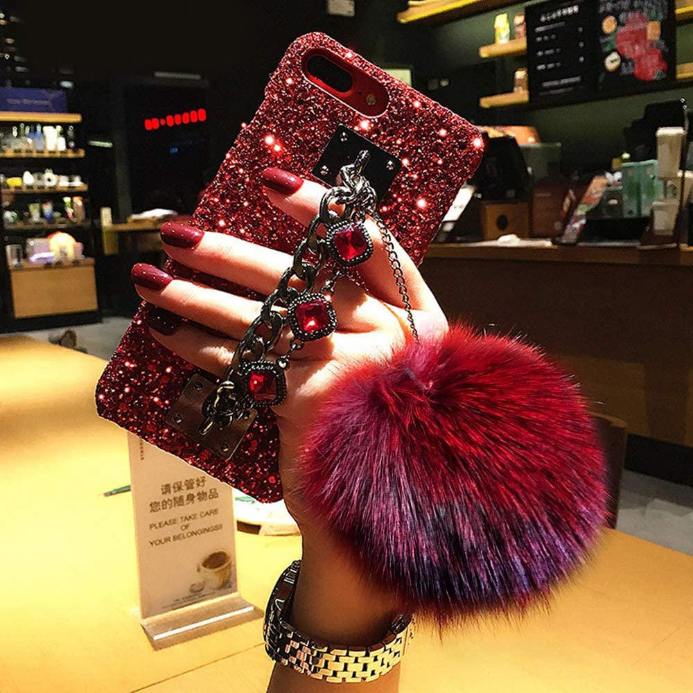 Compatible for iPhone 6 Plus / 6s Plus Case,BabeMall Luxury Stylish DIY Handmade Bling Diamond Fur Plush Ball Strap Chain Case (Red Ball)