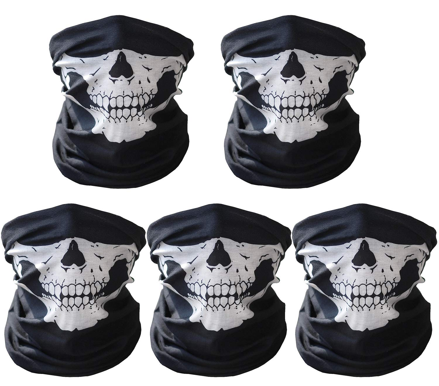 CandyHome 5 Pcs Motorcycle Face Mask, Windproof Seamless Tube Half Face Mask for Bike Riding Fishing Hiking (Black/White) SKU-015-1