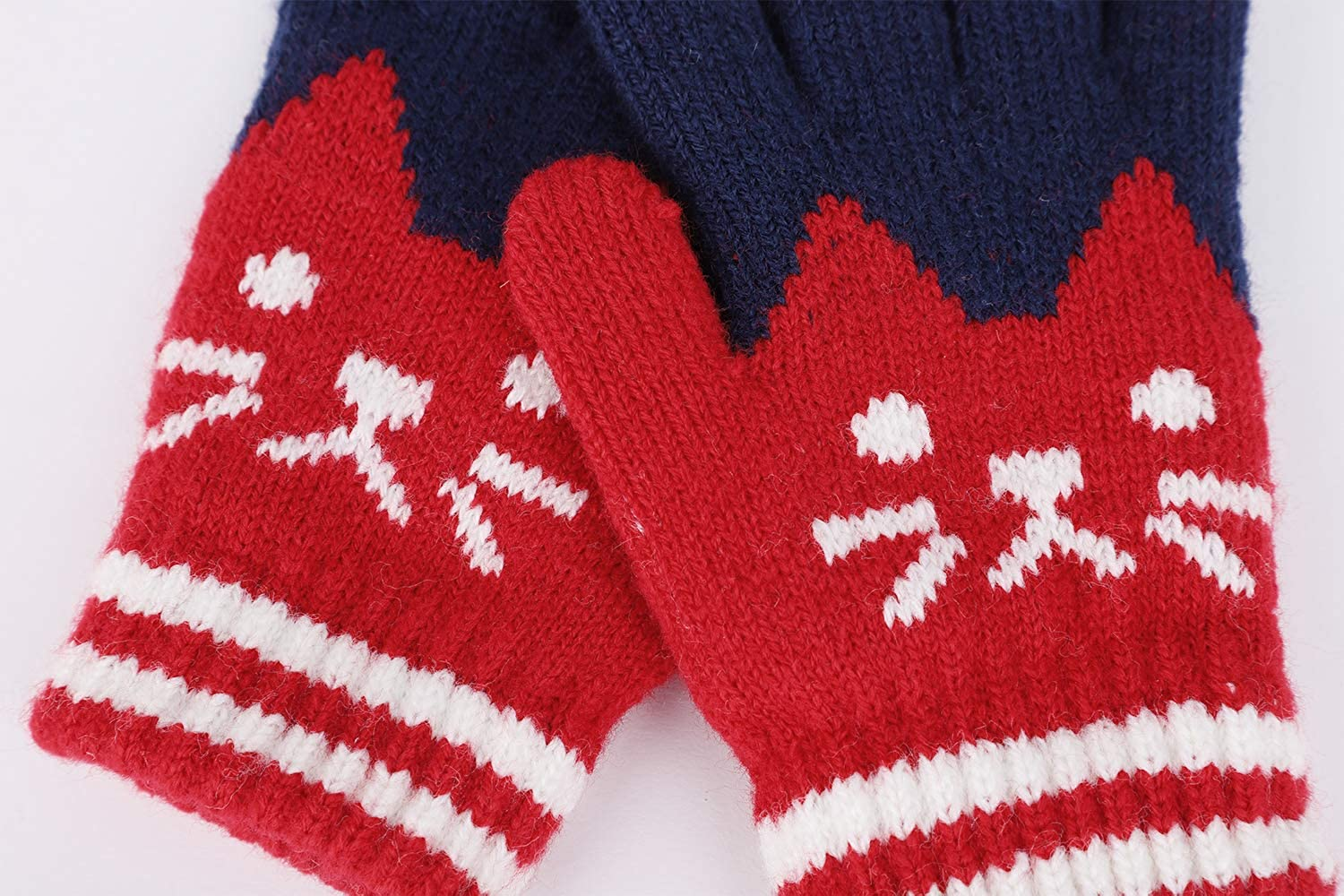 Kids Girl Boy Winter Thick Plush Cute Cat Face Warm Knitted Gloves Gift Age 3-8