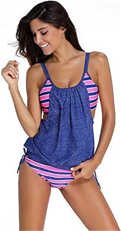 TALLA 42 EU - XXX-Large. Conjunto de bikini de dos piezas para mujer con parte superior a rayas con braguita de bikini push-up, traje de baño para playa