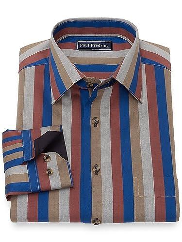 1960s – 70s Mens Shirts- Disco Shirts, Hippie Shirts Paul Fredrick Mens Slim Fit Cotton Herringbone Spread Collar Casual Shirt $69.50 AT vintagedancer.com