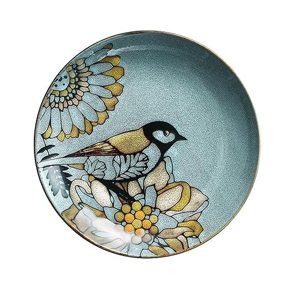 Xing Hua home Placa Redonda Placa de Cena en Placa, Placa de Plato Occidental de cerámica, Plato de Cocina casera Placa Occidental (Color : Blue, ...