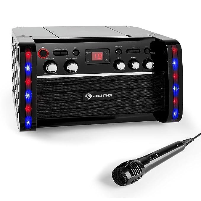 auna DiscoFever • Karaokeanlage • Karaokemaschine • Kinder Karaoke Player • CD-Player • Spielt Karaoke CDs • Zwei Mikrofonein