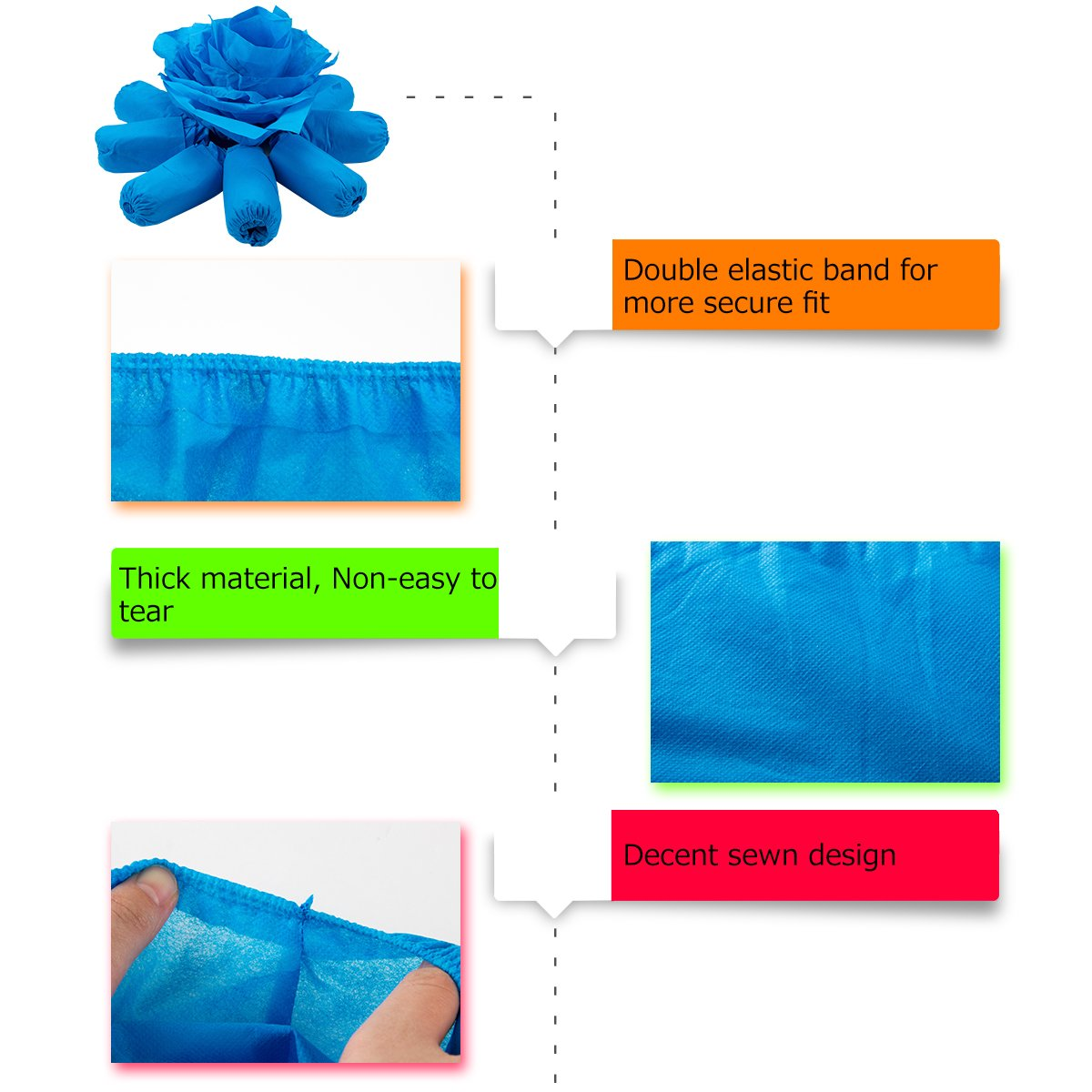 100 pcs Home Disposable Thick Boot & Shoe Cover (5g/pc) - Non-skid & Durable for Workplace, Medical, Indoor or Car Carpet Floor Protection by PAMASE (Image #5)
