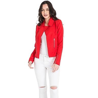 ee3ea631 Miss Halladay Women's Red Asymmetric Zip Front Blazer Jacket Zip Pockets &  Cuff Size Small