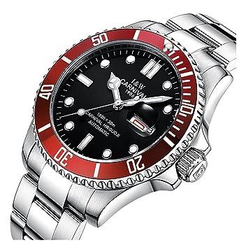 cfca9db77df Mens Black Dial Rotating bezel Silver Stainless Steel Men s GMT Automatic  Mechanical Luminous Wristwatch