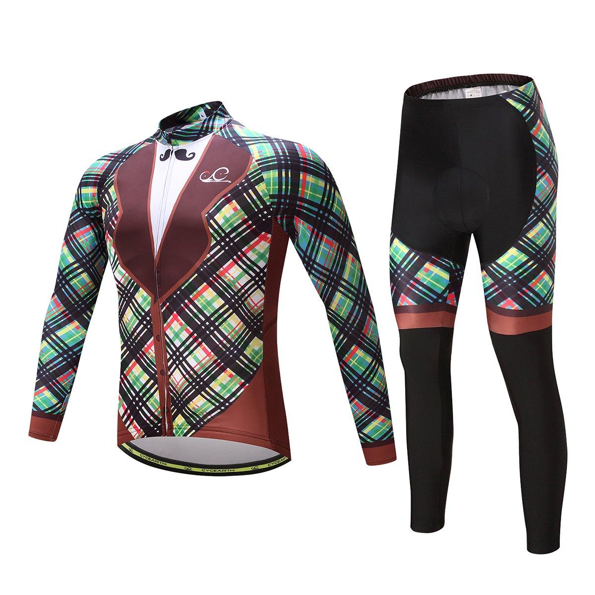 Cycearth Cycling Jersey Long Sleeve Set Men Winter Fleece Thermal Jackets Black Bib Pant (Ce603a, XL) by Cycearth