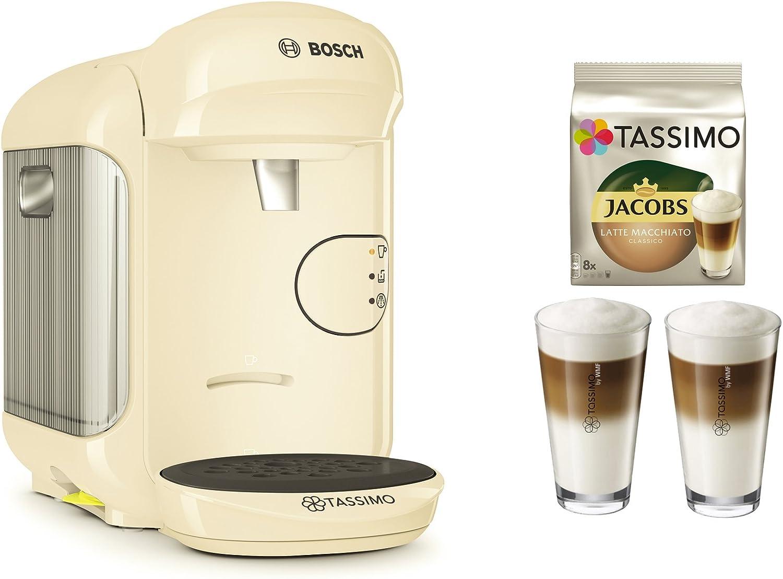 Cafetera Tassimo Vivy 2 de Bosch Bundle + vasos de latte macchiato + Tdisc Latte Macchiato beige: Amazon.es: Hogar