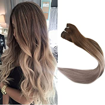 Full Shine 14 Inch Ombre Hair Weft Extensions Full Head Remy Hair Extensions Human Hair Extensions