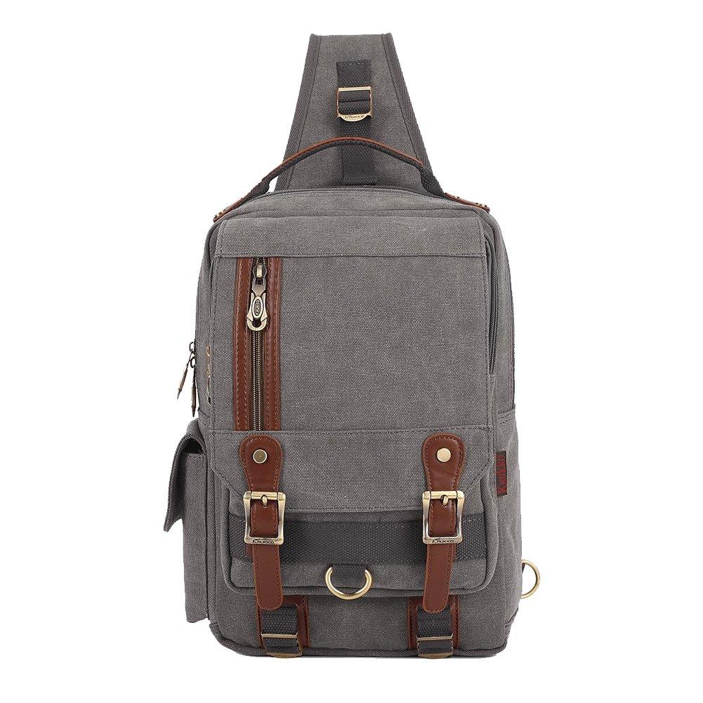 18705b626d KAUKKO Canvas Messenger Bag Cross Body Shoulder Sling Backpack Travel  Hiking Chest Bag