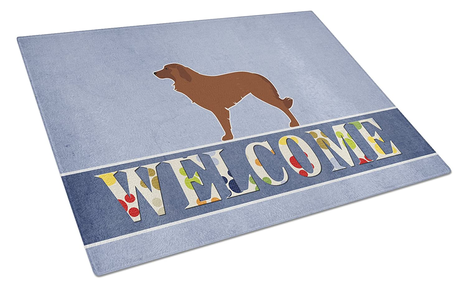 Multicolor Carolines Treasures Bull Terrier Welcome Glass Cutting Board Large