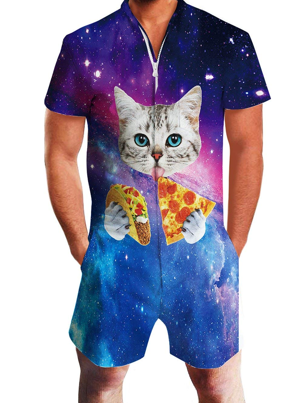 Mens Romper Jumpsuit 3D Novelty Pizza Cat Printed Romper Durable Short Sleeve Zip Up Fun Outfit 90s Personalized Shorts Cargo Pants Teens One Piece Overall with Pocket for Summer Party Work Out by Jubestar