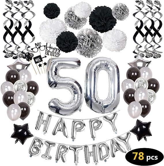 Amazon.com: 50 cumpleaños decoraciones, 50 cumpleaños fiesta ...