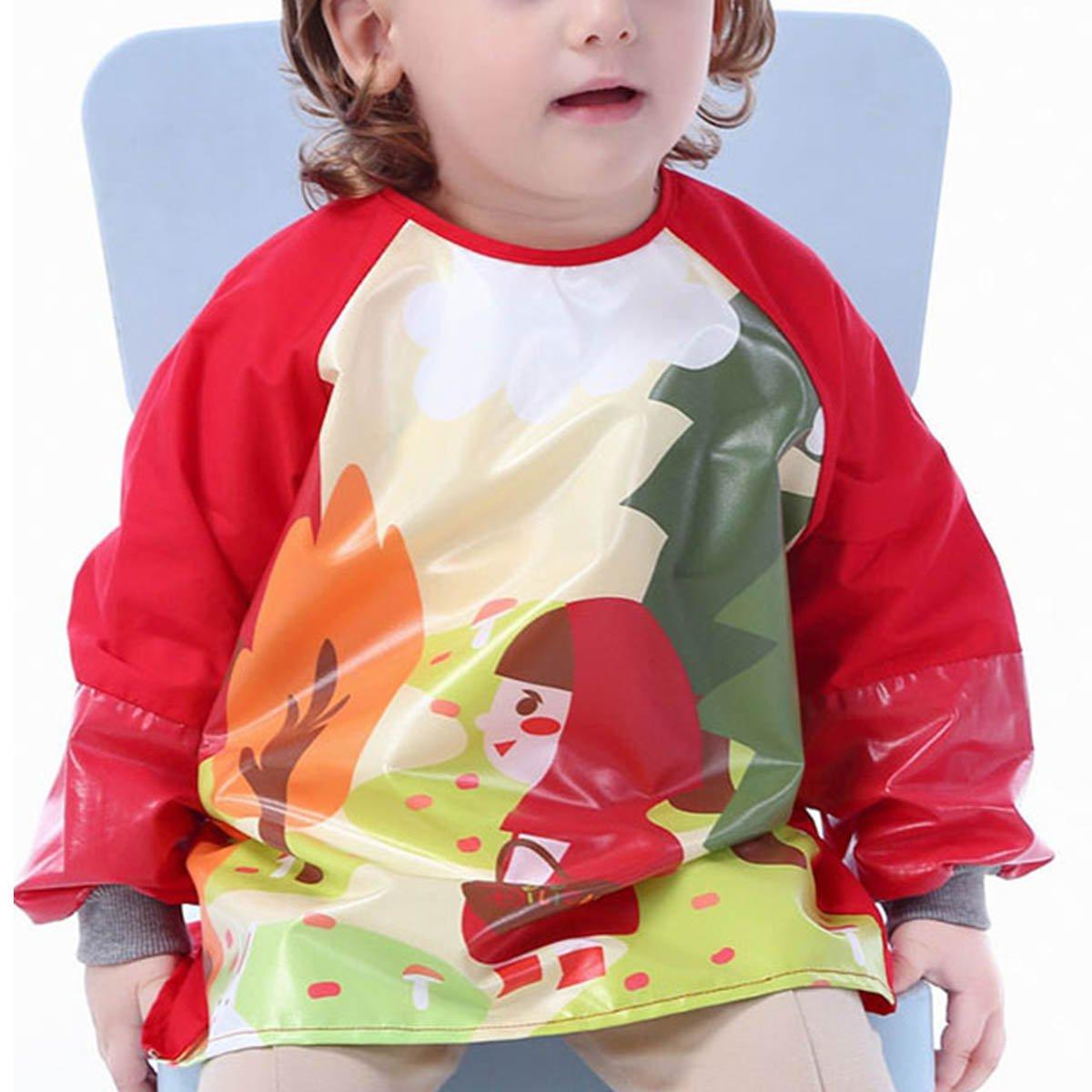 Dinosaurio - M Delantal Blus/ón Babero Impermeable Infantil para pintar con mangas largas para Beb/és ni/ños ni/ñas 1-2 a/ños Happy Cherry