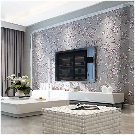 Qihang Modern Simple 3d Thick Non Woven Embossed Tree Flowers Pattern Living Room Wallpaper Roll Purple Gray Color 1 73 X 32 8 57 Square Feet