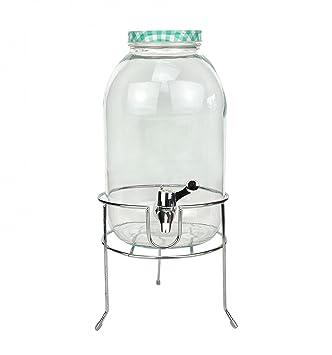 Dispensador de bebidas, 5 L, de cristal con tapa y grifo, turquesa, con soporte de metal: Amazon.es: Hogar