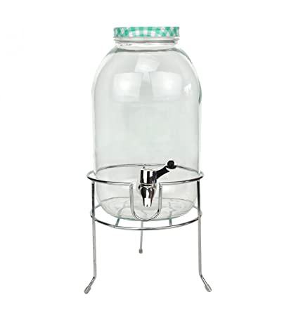 Dispensador de bebidas, 5 L, de cristal con tapa y grifo, turquesa,