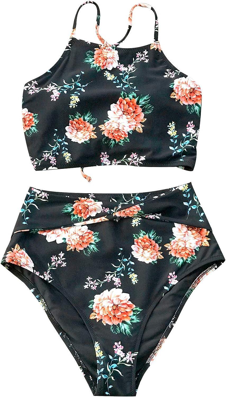 CUPSHE Women's Leaves Printing High Waisted Bikini Set Tankini Swimwear