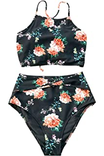 2d7be7eeda CUPSHE Women's Leaves Printing High Waisted Bikini Set Tankini Swimwear