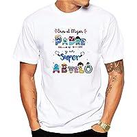 Camiseta Eres el Mejor Padre y un superabuelo. Regalo Divertido para Padres y Abuelos. 100% algodón Natural.