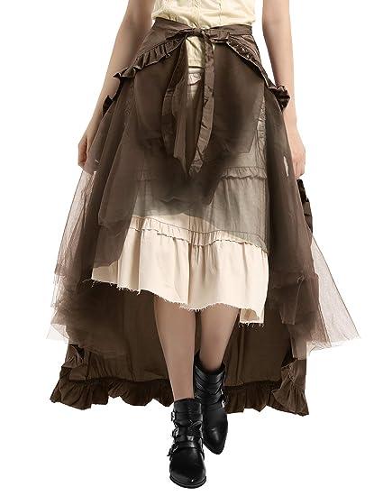 Belle Poque Falda Asimétrica para Mujer Vintage con Volante Gitana ...