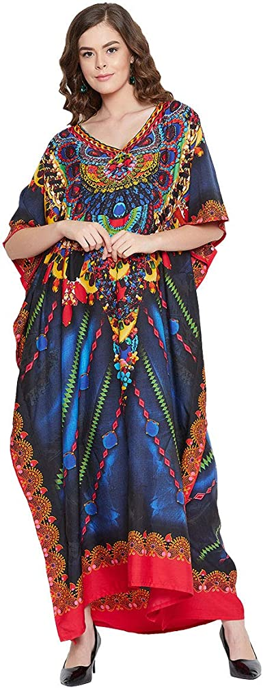 Gypsie Blu Abstract Print Short Kaftan Polyester Plus Size Tunic Tops Casual Beach Cover Up Womens Dress