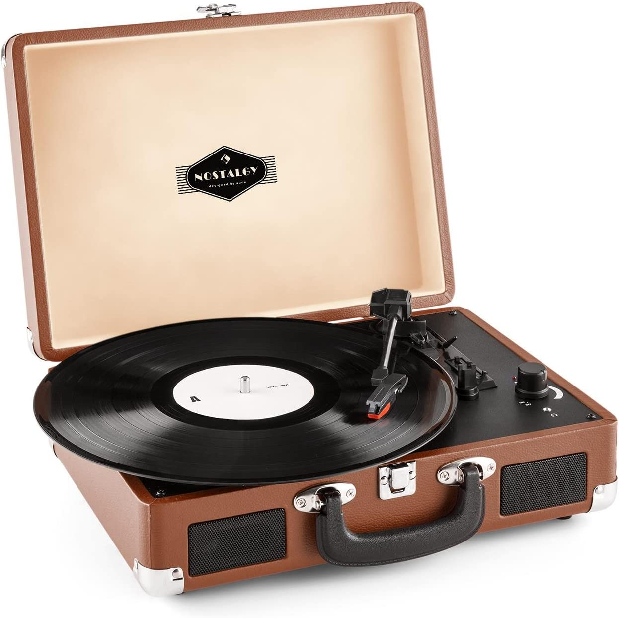 auna Peggy Sue Retro Record Player, Turntable with Built-in Stereo Speakers, Belt-Drive, USB-Port (B), Vinyl LP, Plays 33, 45 and 78 RPM Records, Digitization, Plug & Play, Portable Suitcase, Coffee