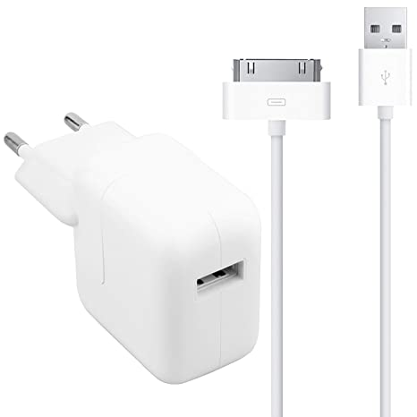 UrbanX 12W Cargador Portátil USB Power Adapter y 30 Pin USB Cable Compatible con iPad 1/2/3 - con UK y US intercambiables Conector adaptadores