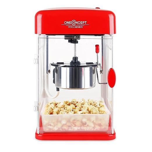 Klarstein Rockkorn - máquina de palomitas de maíz , retro , palomitero , 350 W , extraíble , iluminación interior , aprox. 60 l/h , puerta con ...