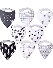 Baby Bandana Drool Bibs Organic 8 Pack for Boys and Girls 100% Absorbent Soft Cotton Bandana Baby Bibs for Teething Feeding Baby Shower Gift (BC075)