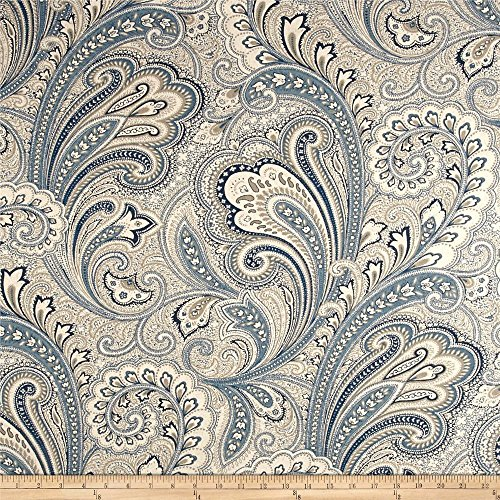 Drapery Fabric Blend (Swatch Sample Discount Fabric Richloom Upholstery Drapery Linen Barilla Denim Paisley MM15)