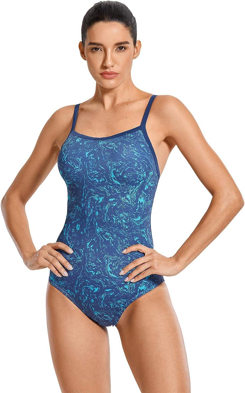 SYROKAN Womens Basic Sleek Solid Elite Training Sport Athletic One Piece Swimsuit