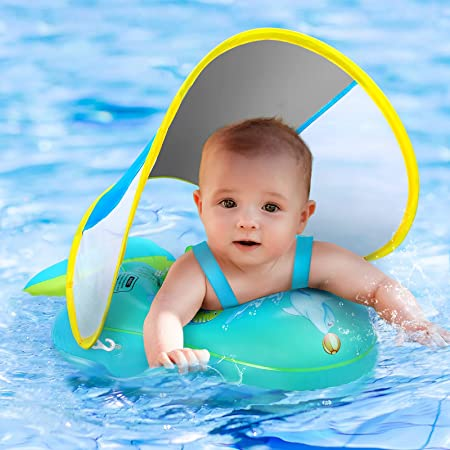 No Flip Over Baby Pool Float with Canopy UPF50+ Sun Protection, Inflatable Baby Float with Sponge Safety Support Bottom, Fun Gifts Water Toys Accessories Baby Swim Floats for Pool 3-36 Months