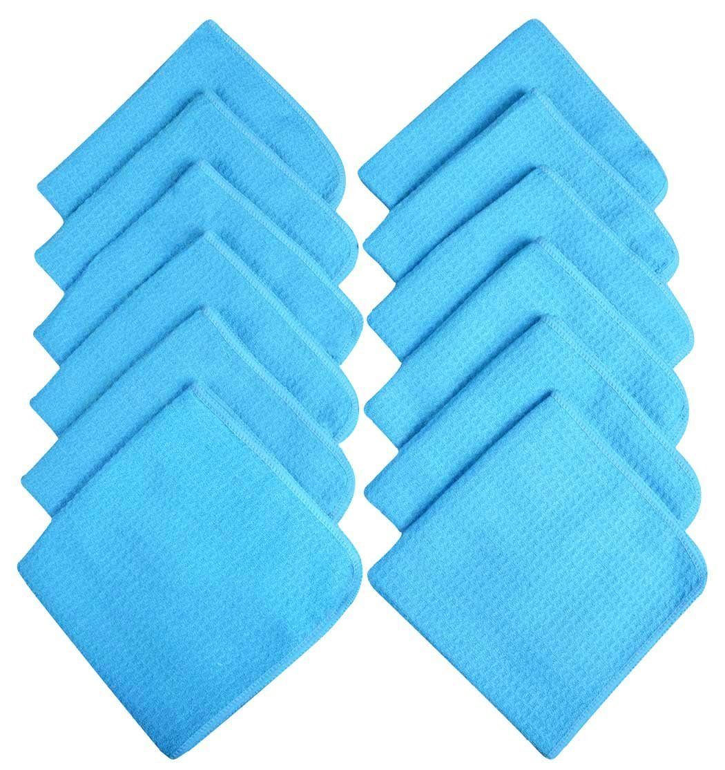 Sinland Microfiber Waffle Weave Kitchen Dish Cloths Drying Cleaning Cloth 13inchx13inch 12 Pack Turquoise