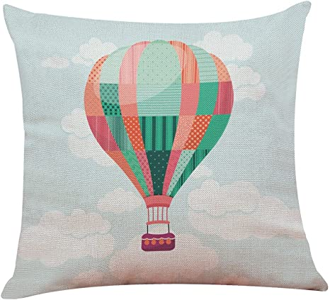 Amazon Com Emerayo Cartoon Hot Air Balloon Throw Pillow Covers Home Decorative Throw Pillow Cases Couch Covers Decoration 18 X 18 Inch For Home Sofa Bedding I 18 X 18 Inch Home Kitchen