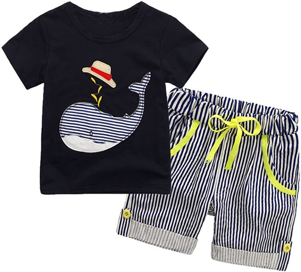 Stripe Shorts 2 Pcs Clothes Set Weixinbuy Baby Boys Short Sleeve Round Neck Tops T-Shirt